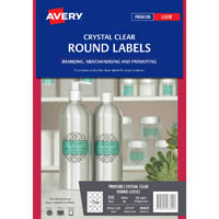 AVERY 980022 L7114 CRYSTAL CLEAR ROUND LABEL 12UP CLEAR PACK 10