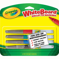 CRAYOLA VISI-MAX DRY ERASE WHITEBOARD MARKERS FINE BULLET TIP ASSORTED PACK 4