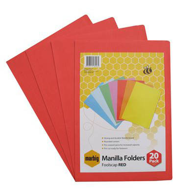 Image for MARBIG MANILLA FOLDER FOOLSCAP RED PACK 20 from Mackay Business Machines (MBM)