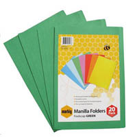 MARBIG MANILLA FOLDER FOOLSCAP GREEN PACK 20
