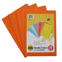 MARBIG MANILLA FOLDER FOOLSCAP ORANGE PACK 20