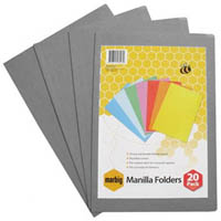 MARBIG MANILLA FOLDER FOOLSCAP GREY PACK 20