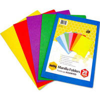 MARBIG MANILLA FOLDER FOOLSCAP ASSORTED PACK 20