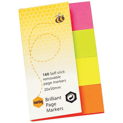 Image for MARBIG NOTES BRILLIANT PAGE MARKERS 160 SHEET 20 X 50MM ASSORTED from Mackay Business Machines (MBM)