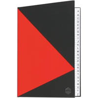 MARBIG NOTEBOOK FEINT RULED A-Z INDEX HARD COVER CASEBOUND A4 100 LEAF BLACK/RED