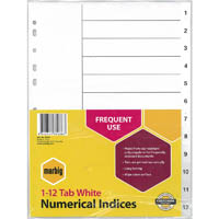 MARBIG INDEX DIVIDER PP 1-12 TAB A4 WHITE