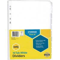 MARBIG DIVIDER MANILLA 10-TAB A4 WHITE PACK 20