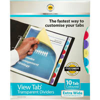 MARBIG PROFESSIONAL SERIES EXTRA WIDE VIEW-TAB DIVIDER PP 10-TAB A4 ASSORTED