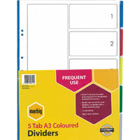 MARBIG DIVIDER PP PP 5-TAB A3 ASSORTED