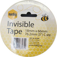 MARBIG TAPE INVISIBLE 18MM X 66M 76.2MM CORE