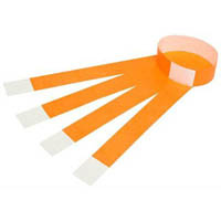 REXEL TYVEK WRISTBANDS WITH SERIAL NUMBER FLUORO ORANGE PACK 10