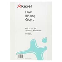 REXEL BINDING COVER 250 MICRON A4 GLOSS WHITE PACK 100