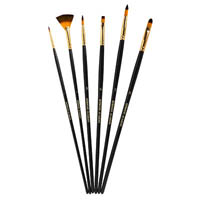 DERWENT ACADEMY TAKLON PAINT BRUSHES LARGE PACK 6