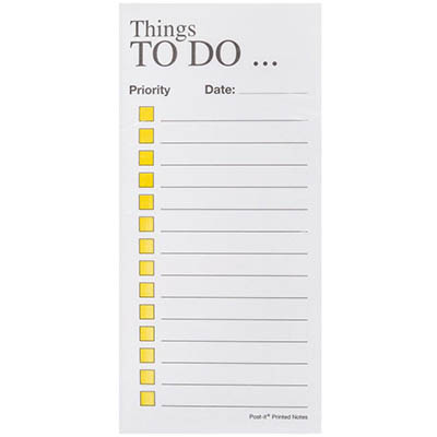 Image for POST-IT PT06 NOTE PADS THINGS TO DO 70 X 148MM YELLOW ON WHITE from Axsel Office National