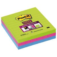 POST-IT 6753-SSMX SUPER STICKY LINED NOTES 101 X 101MM ULTRA NEON PACK 3