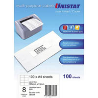 UNISTAT 38934 MULTIPURPOSE LABEL 8UP 105 X 74MM WHITE PACK 100