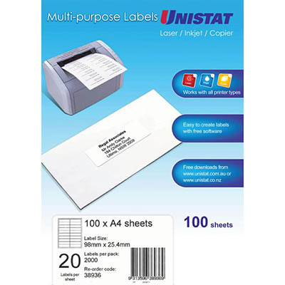 Image for UNISTAT 38936 MULTI-PURPOSE LABEL 20UP 98 X 25.4MM WHITE PACK 100 from Mackay Business Machines (MBM)