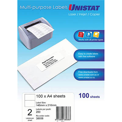 Image for UNISTAT 38938 MULTI-PURPOSE LABEL 2UP 148 X 210MM WHITE PACK 100 from Axsel Office National