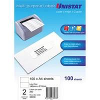 UNISTAT 38938 MULTIPURPOSE LABEL 2UP 148 X 210MM WHITE PACK 100