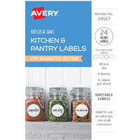 AVERY 39027 KITCHEN AND PANTRY LABELS CIRCLE 45MM WHITE PACK 24
