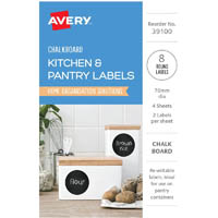 AVERY 39100 KITCHEN AND PANTRY LABELS CIRCLE 75MM BLACK CHALKBOARD PACK 8