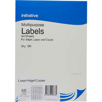 INITIATIVE MULTI-PURPOSE LABELS 65UP 38.1 X 21.2MM PACK 100