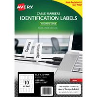 AVERY 910006 L7136LT DURABLE PRINTABLE CORD TAGS WHITE PACK 50