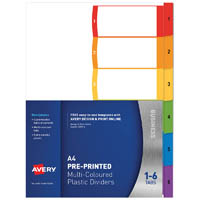 AVERY 920146 L7411-6 CUSTOMISABLE DIVIDER PP MULTICOLOUR 1-6 TABS