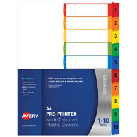 AVERY 920147 L7411-10 CUSTOMISABLE DIVIDER PP MULTICOLOUR 1-10 TABS