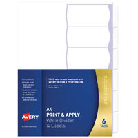 AVERY 930112 L7455-6 PRINT & APPLY A4 WITH EASY APPLY LABELS 6 TABS
