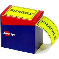 AVERY 932602 MESSAGE LABEL FRAGILE 75 X 99.6MM FLUORO YELLOW PACK 750