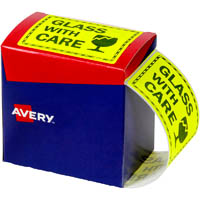 AVERY 932618 MESSAGE LABEL GLASS WITH CARE 75 X 99.6MM FLUORO YELLOW PACK 750