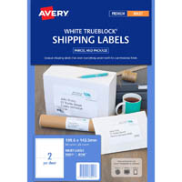 AVERY 936021 J8168 TRUEBLOCK SHIPPING LABEL INKJET 2UP PACK 25
