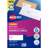 AVERY 936028 J8163 QUICK PEEL ADDRESS LABEL WITH SURE FEED INKJET 14UP WHITE PACK 25