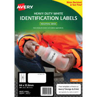 AVERY 936069 J4773 HEAVY DUTY INKJET LABELS 24UP WHITE PACK 10