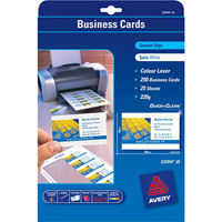 AVERY 936223 C32096 QUICK CLEAN BUSINESS CARDS INKJET MATT LINEN FINISH 250GSM PACK 80