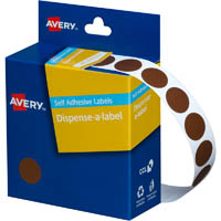 AVERY 937237 ROUND LABEL DISPENSER 14MM BROWN BOX 1050
