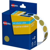AVERY 937273 ROUND LABEL DISPENSER 14MM GOLD BOX 500