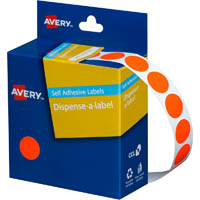 AVERY 937298 ROUND LABEL DISPENSER 14MM FLUORO RED BOX 700