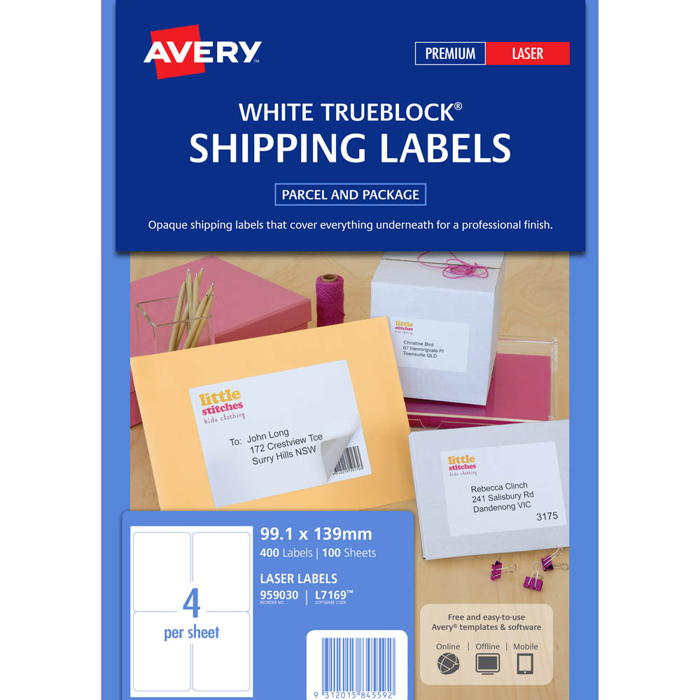 Avery 959030 L7169 Laser Labels Parcel 4Up White Pack 100