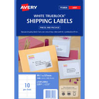 AVERY 959031 L7173 TRUEBLOCK SHIPPING LABEL LASER 10UP WHITE PACK 100