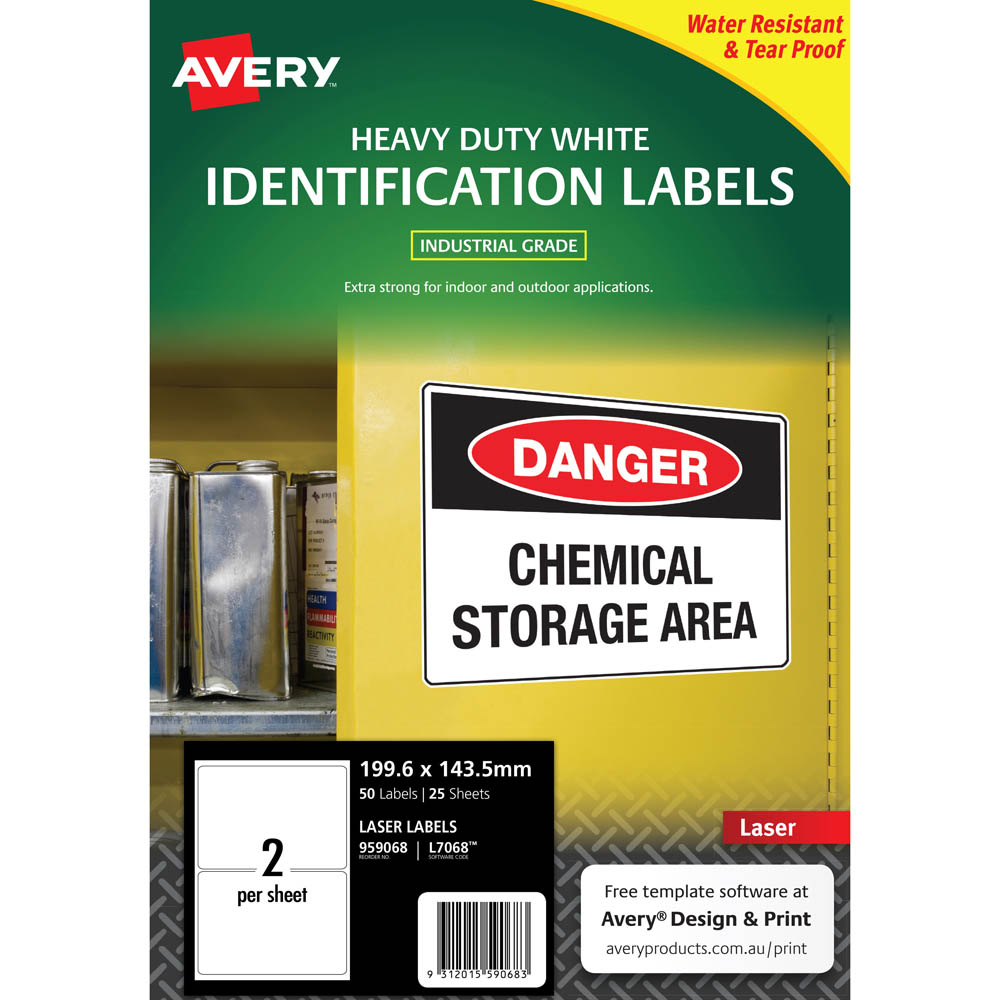 Image for AVERY 959068 L7068 HEAVY DUTY LASER LABELS 2UP WHITE PACK 25 from Connelly's Office National