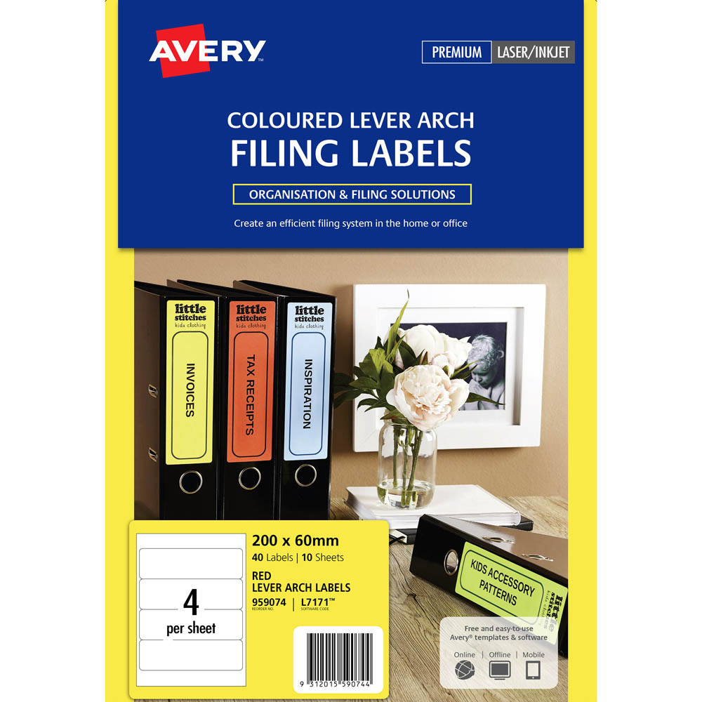 Image for AVERY 959074 L7171R LASER LABELS LEVER ARCH 4UP RED PACK 10 from Axsel Office National