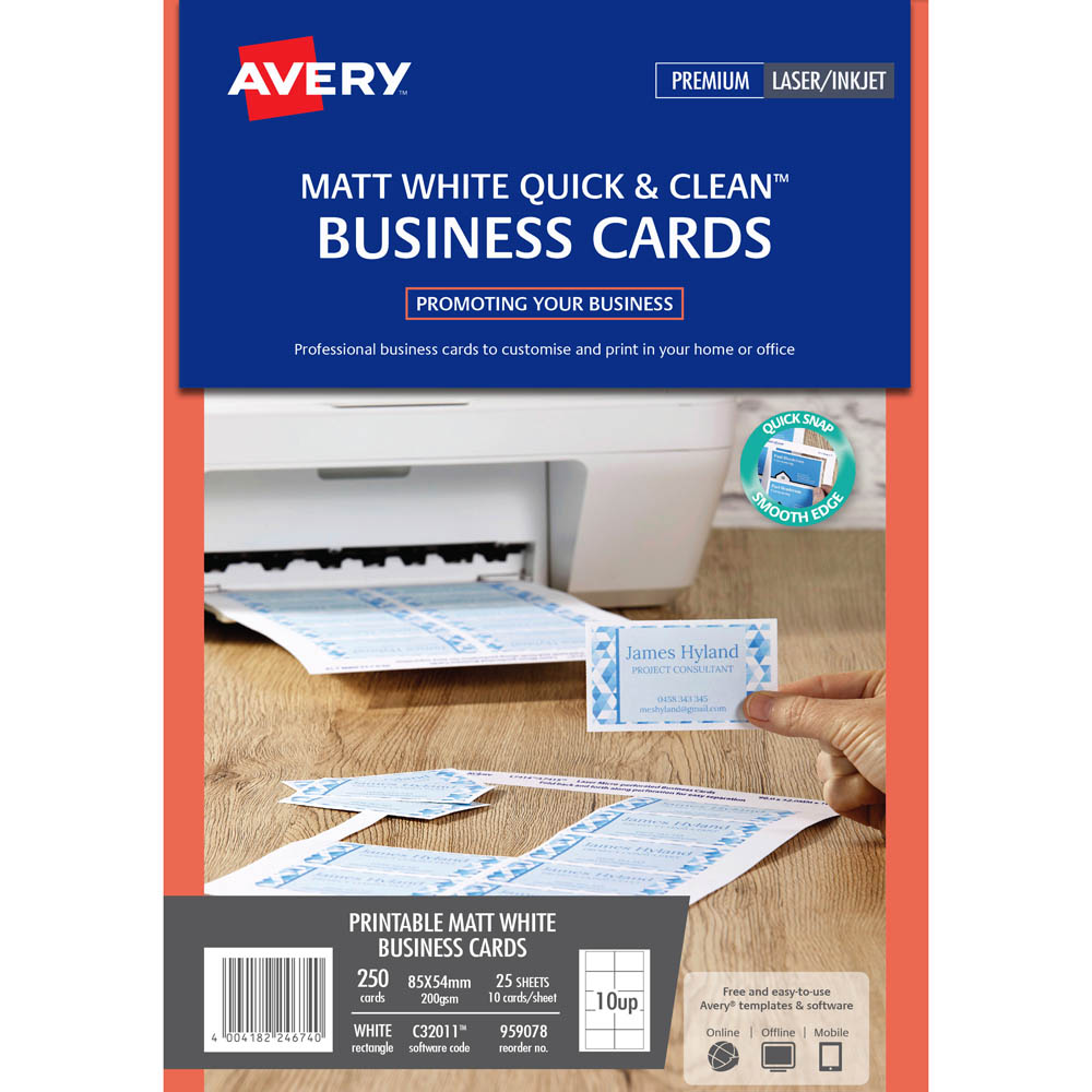 Avery 959078 c32011 clean business cards laser and inkjet 200gsm avery 959078 c32011 clean business cards laser and inkjet 200gsm pack 250 reheart Gallery
