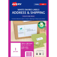 AVERY 959120 L7167EV ENVIRO LASER LABEL LARGE SIZE 1UP WHITE PACK 100