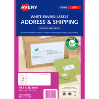 AVERY 959121 L7163EV ENVIRO ADDRESS LABEL LASER 14UP WHITE PACK 100