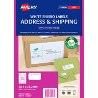 AVERY 959123 L7651EV ENVIRO LASER LABEL MINI 65UP WHITE PACK 100