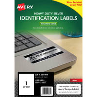 AVERY 959204 L6013 HEAVY DUTY LASER LABELS SILVER 1 UP PACK 20