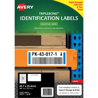 AVERY 959220 EXTRA STRONG TRIPLEBOND LABELS 45.7 X 25.4MM WHITE PACK 10