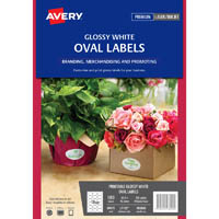AVERY 980000 L7102 LABELS PRINT-TO-THE-EDGE OVAL 18 UP WHITE GLOSSY PACK 180